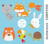 Cute Pet Animal Set Vector...