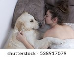 teenage girl sleeping with her... | Shutterstock . vector #538917079