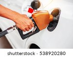 handle fuel on car in the gas... | Shutterstock . vector #538920280
