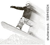 snowboarder extreme. jumping... | Shutterstock .eps vector #538945024