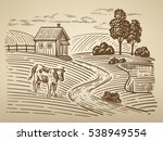 vector image of village and... | Shutterstock .eps vector #538949554