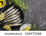 fresh sea fish smelt or... | Shutterstock . vector #538975588