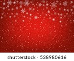 Snowflakes On Red Festive...