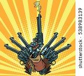 hand with revolvers shot pop... | Shutterstock .eps vector #538983139