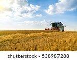 combine harvester in action on...   Shutterstock . vector #538987288