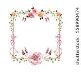 wildflower rose flower frame in ... | Shutterstock . vector #538990474