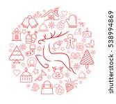 reindeer and christmas element... | Shutterstock .eps vector #538994869