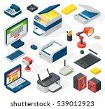 isometric office equipment... | Shutterstock .eps vector #539012923
