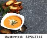 tomato soup. zuppa di pomodoro | Shutterstock . vector #539015563