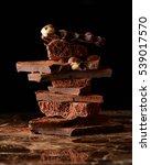 stack dark chocolate | Shutterstock . vector #539017570