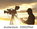 silhouettes of video camera man ... | Shutterstock . vector #539029564