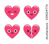 cute cartoon emoticon hearts... | Shutterstock . vector #539029774