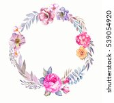 watercolor wreath with colorful ...   Shutterstock . vector #539054920
