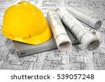 yellow helmet  grey folder... | Shutterstock . vector #539057248