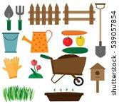 garden tools set on white... | Shutterstock .eps vector #539057854