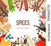 ornament made of spices with... | Shutterstock .eps vector #539060770