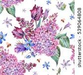 vintage garden watercolor... | Shutterstock . vector #539064808