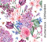 Stock photo vintage garden watercolor spring seamless background with pink flowers blooming branches of peach 539064844
