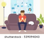 young man sitting on the sofa... | Shutterstock .eps vector #539094043