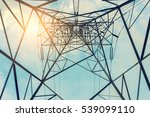 high voltage towers on skies... | Shutterstock . vector #539099110