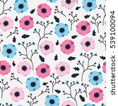 pink and blue flowers on a... | Shutterstock .eps vector #539100094