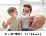 image of bearded father and son ... | Shutterstock . vector #539131288