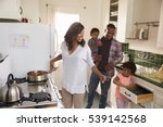 family at home preparing meal... | Shutterstock . vector #539142568