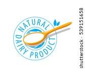 vector logo spoon with milk... | Shutterstock .eps vector #539151658