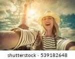 woman tourist selfie near the... | Shutterstock . vector #539182648