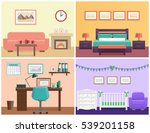 House interior living room, bedroom, office place, baby nursery. Flat vector design with furniture including sofa, fireplace, bed, desk, laptop, crib and changing table icons.  | Shutterstock vector #539201158