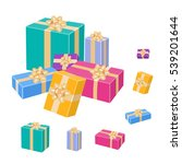 wrapped gift boxes with bows... | Shutterstock .eps vector #539201644