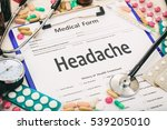 medical form on a table ... | Shutterstock . vector #539205010