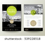 poster flyer pamphlet brochure cover design layout with circle shape graphic elements and space for photo background, black, green, gold color scheme, vector template in A4 size | Shutterstock vector #539228518