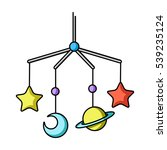 baby crib icon in cartoon style ... | Shutterstock .eps vector #539235124