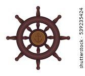 wooden ship steering wheel icon ... | Shutterstock .eps vector #539235424