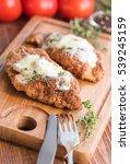 baked chicken parmesan . | Shutterstock . vector #539245159