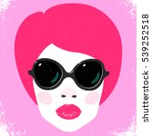 black glasses on fashion woman... | Shutterstock .eps vector #539252518