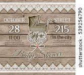 baby shower card on wooden... | Shutterstock .eps vector #539256790