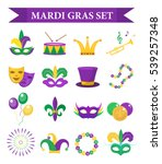 mardi gras carnival set  icons  ... | Shutterstock .eps vector #539257348