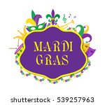 mardi gras poster with mask ... | Shutterstock .eps vector #539257963