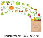 shopping paper bag with fresh... | Shutterstock .eps vector #539258770