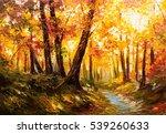 oil painting landscape   autumn ... | Shutterstock . vector #539260633