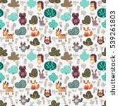 funny animal seamless pattern... | Shutterstock .eps vector #539261803