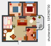 top view on apartment interior... | Shutterstock .eps vector #539298730
