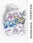 sketch of theatrical masks with ... | Shutterstock . vector #539301436