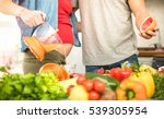 young couple with pregnant... | Shutterstock . vector #539305954