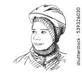 sketch of young girl wearing...   Shutterstock .eps vector #539326030
