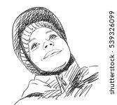 sketch of young girl wearing...   Shutterstock .eps vector #539326099