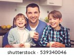 happy family are drinking milk... | Shutterstock . vector #539340046