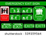 set of emergency exit sign  at... | Shutterstock .eps vector #539359564